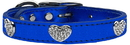 Mirage Pet Products Crystal Heart Genuine Metallic Leather Dog Collar