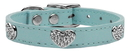 Mirage Pet Products 83-118 BBL26 Crystal Heart Genuine Leather Dog Collar Baby Blue 26