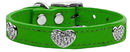 Mirage Pet Products 83-118 EG10 Crystal Heart Genuine Leather Dog Collar Emerald Green 10
