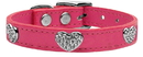 Mirage Pet Products 83-118 Pk14 Crystal Heart Genuine Leather Dog Collar Pink 14