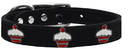 Mirage Pet Products 83-119 Bk18 Red Cupcake Widget Genuine Leather Dog Collar Black 18