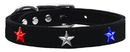 Mirage Pet Products 83-122 Bk18 Red, White and Blue Star Widget Genuine Leather Dog Collar Black 18