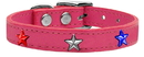 Mirage Pet Products 83-122 Pk18 Red, White and Blue Star Widget Genuine Leather Dog Collar Pink 18