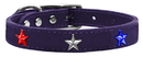 Mirage Pet Products 83-122 Pr20 Red, White and Blue Star Widget Genuine Leather Dog Collar Purple 20