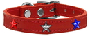 Mirage Pet Products 83-122 Rd22 Red, White and Blue Star Widget Genuine Leather Dog Collar Red 22