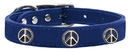 Mirage Pet Products 83-123 BL24 Peace Sign Widget Genuine Leather Dog Collar Blue 24