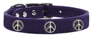 Mirage Pet Products 83-123 Pr20 Peace Sign Widget Genuine Leather Dog Collar Purple 20