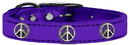Mirage Pet Products 83-124 PrM18 Peace Sign Widget Genuine Metallic Leather Dog Collar Purple 18