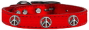 Mirage Pet Products 83-124 RdM22 Peace Sign Widget Genuine Metallic Leather Dog Collar Red 22
