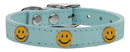 Mirage Pet Products 83-125 BBL10 Happy Face Widget Genuine Leather Dog Collar Baby Blue 10
