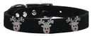 Mirage Pet Products 83-133 Bk16 Reindeer Face Widget Genuine Leather Dog Collar Black Size 16