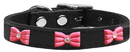 Mirage Pet Products Pink Glitter Bow Widget Genuine Leather Dog Collar