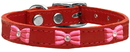 Mirage Pet Products 83-63 Rd20 Pink Glitter Bow Widget Genuine Leather Dog Collar Red 20