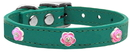 Mirage Pet Products 83-71 Jd16 Bright Pink Rose Widget Genuine Leather Dog Collar Jade 16