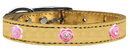 Mirage Pet Products 83-84 Gd14 Bright Pink Rose Widget Genuine Metallic Leather Dog Collar Gold 14