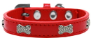 Mirage Pet Products 87-04 RD10 Crystal Bone Premium Dog Collar Red Size 10