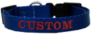 Mirage Pet Products CEB124-1 BLSM Custom Embroidered Made in the USA Nylon Dog Collar SM Blue