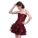 Muka Women's Floral Black Lace Trim Corset with Skirt Clubwear Costume