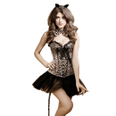 Muka Women's Leopard Print Party Corset Bustier, Halloween Full Costume