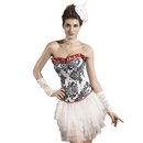 Muka White Floral Brocade Fashion Corset Halloween Costume