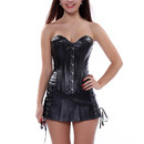 Muka Women Black Boned Corset PU Leather Bustier & Skirt For Halloween