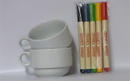 NEOPlex 12-017 Set Of 2 Ceramic Mugs + 5 Piece Creative Marker Set