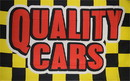 NEOPlex F-2711 Quality Cars Y/Bk Checkered Red Letters 3X5 Flag