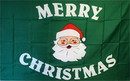NEOPlex F-2773 Merry Christmas Santa Green Poly 3' X 5' Flag