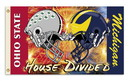 NEOPlex K95955 Michigan Wolverines/Ohio State Helmets House Divided 3'X 5' College Flag