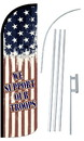 NEOPlex SW10786-4SPD-SGS We Support Our Troops Usa Deluxe Windless Swooper Flag Kit