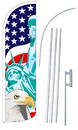 NEOPlex SW11040-4SPD-SGS Lady Liberty/Usa/American Eagle Deluxe Windless Swooper Flag Kit