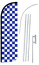 NEOPlex SW11087-4SPD-SGS Blue & White Checkered Deluxe Windless Swooper Flag Kit