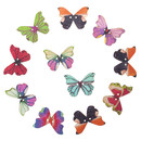 Aspire 200 Pcs Butterfly Wooden Button 1-1/8 x 13/16 inch, Mixed Colors 2 Holes for Sewing Craft