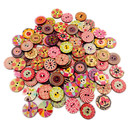 Aspire 200 Pcs Vintage Wooden Button 20mm with Random Color Patterns, 2 Holes for Sewing Craft