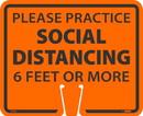 NMC CS30 Social Distancing Cone Sign, Orange, Rigid Plastic, 10.38