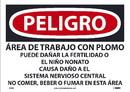NMC D683 Danger Lead Work Area Sign, Spanish Osha, PAPER, 10
