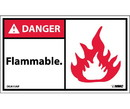 NMC DGA15LBL Danger Flammable Label, Adhesive Backed Vinyl, 3