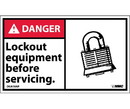 NMC DGA18LBL Danger Lock Out Equipment Before Servicing Label, Adhesive Backed Vinyl, 3