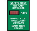 NMC DSB3 Safety First This Plant Has Worked Digital Scoreboard, Rigid Plastic, 28