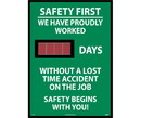NMC DSB8 Safety First We Have Proudly Worked Digital Scoreboard, Rigid Plastic, 28