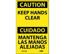 NMC ESC536LBL Caution Keep Hands Clear Bilingual Label, Adhesive Backed Vinyl, 5