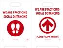 NMC FS44 Social Dist., Footprt/Arrow, Red Dbl-Sided Floor Sign, Corrugated Plastic, 19