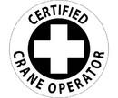 NMC HH34R Certified Crane Operator Hard Hat Label, Adhesive Backed Vinyl, 2