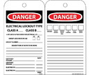 NMC JMTAG3 Danger Electrical Lockout Type Class A & Class B Tag, Unrippable Vinyl, 7.38