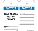 NMC RPT148 Notice Temporarily Out Of Service Tag