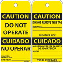 NMC RPT216ST Caution Do Not Operate Bilingual Tag, Polytag, 6