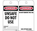 NMC RPT34ST Danger Unsafe Do Not Use Tag, Polytag, 6