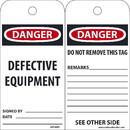 NMC RPT59ST Danger Defective Equipment Tag, Polytag, 6