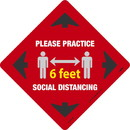 NMC WFS71RD Social Distancing Walk On Floor Sign, Red
