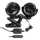 Prime Products 06-0507 Dual Head Clip-On Fan - 12V, Black